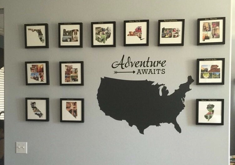 Modern Map Art, Travel Photo Wall