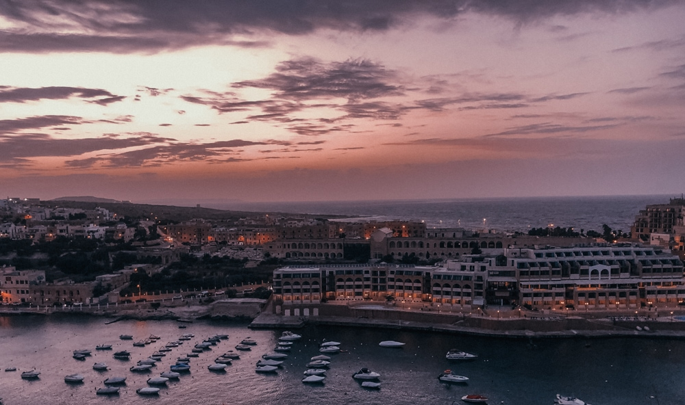 St George's Bay at Sunset -Malta